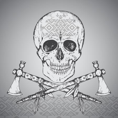 cherokee: Hand drawn vector illustration of human skull, two tomahawks and ethnic ornament.