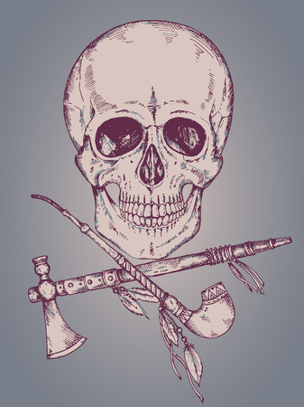 Hand drawn vector illustration with human skull, tomahawk and calumet in sketch style.