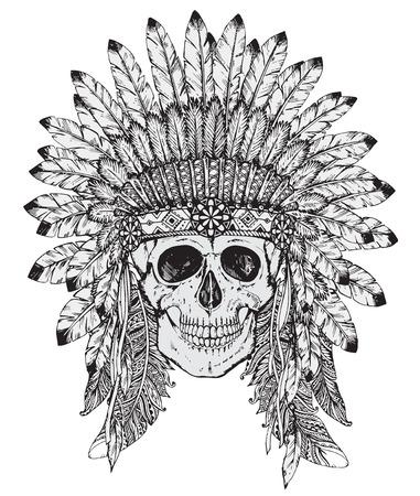 스케치 스타일에서 인간의 두개골과 네이티브 아메리칸 인디언 머리 장식의 손으로 그린 벡터 일러스트 레이 션입니다. 전통적인 부족의 최고 깃 일러스트