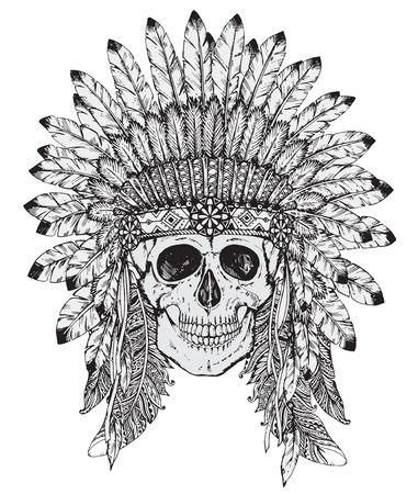 Hand drawn vector  illustration of Native American Indian headdress with human skull in sketch style. Traditional tribal chief feather hat and skull Illustration