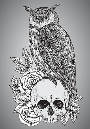 boho: Vector illustration with hand drawn ornate owl on human skull with rose flowers and grunge texture