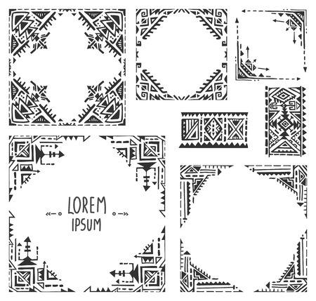 Set of five borders with tribal art boho hand drawn geometric patterns. Ethnic print  in black and white style. Frames for greeting cand, invitations and other