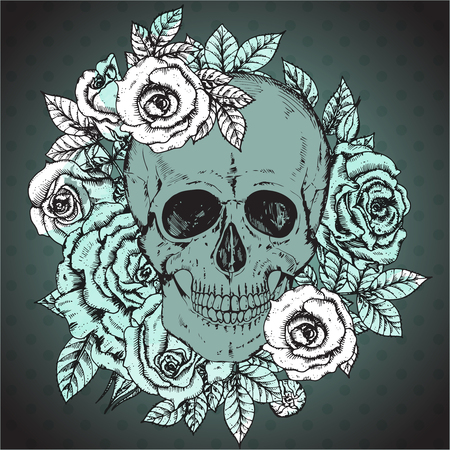 rose bouquet: Vector illustration with hand drawn human skull, rose flowers with watercolor texture in vintage sketch style