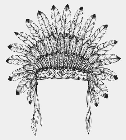 スケッチ風の羽付きネイティブ アメリカン インドのヘッドドレス。手には、ベクター グラフィックが描画されます。