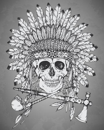 illustrazione di nativi copricapo indiano americano con teschio umano, tomahawk e calumet in stile schizzo. cappello tradizionale tribale capo piuma e del cranio Vettoriali