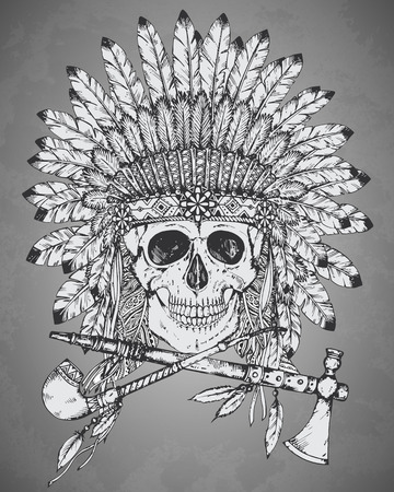 illustration of Native American Indian headdress with human skull, tomahawk and calumet in sketch style. Traditional tribal chief feather hat and skull
