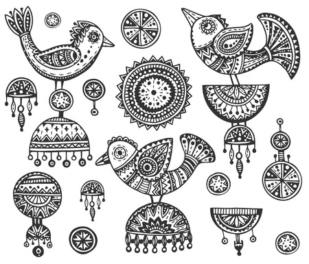 earrings: Set of fancy birds in ethnic ornate doodle style with jewelry elements. Black and white illustration