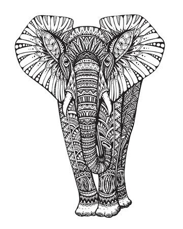 elephant: animal. Stylized fantasy patterned elephant. illustration with traditional oriental floral elements  isolated on white background. Illustration