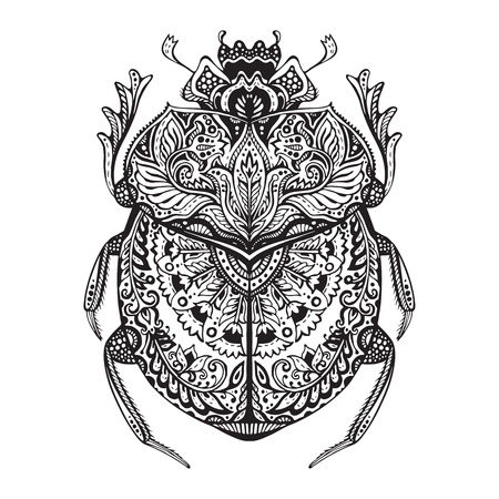 ancient egyptian culture: Black and white  stylized scarab. Doodle ethnic patterned bug. African, egyptian totem.  Sketch for tattoo, poster, print or t-shirt Illustration