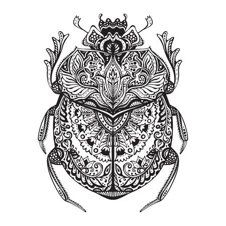 escarabajo estilizado blanco y negro. Garabatos error modelada étnica. África, totem egipcio. Boceto para el tatuaje de impresión de carteles o una camiseta Ilustración de vector