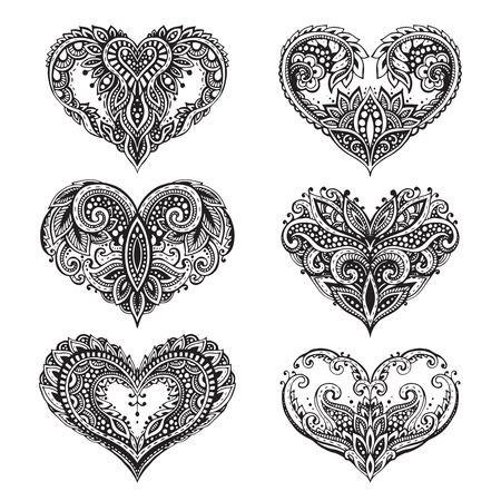 Set di cuori in bianco e nero in stile. Motivo per libro da colorare. Valentines Day elementi di amore.