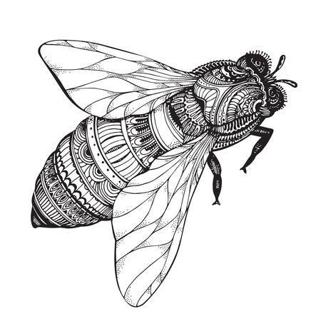 bee: мед пчелы в стиле. Черно-белая иллюстрация