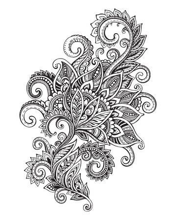 line design:  ornate flower pattern in style. Black and white graphic doodle illustration Illustration