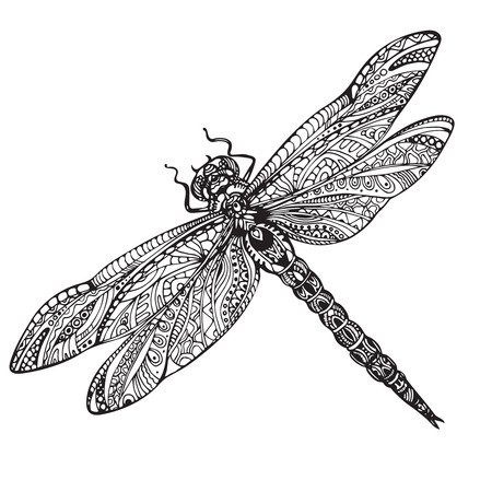 dragonfly in ornate style. Black and white illustration