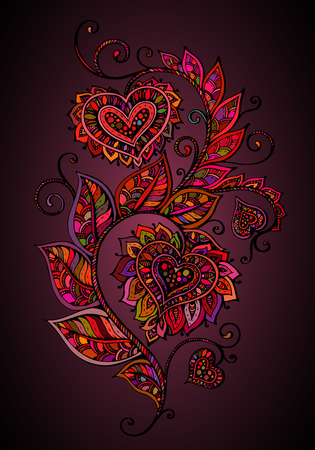 indian fabric:  ornate floral pattern in style. Graphic doodle flower with hearts. Valentines day illustration