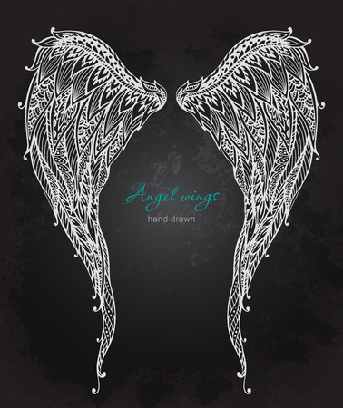 artificial wing:  ornate angel wings, style. Doodle black and white illustration on grunge background Illustration