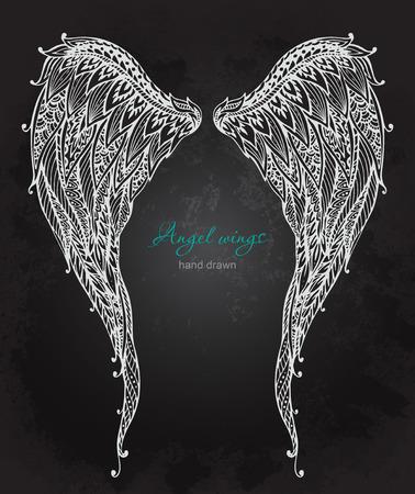 angel white:  ornate angel wings, style. Doodle black and white illustration on grunge background Illustration