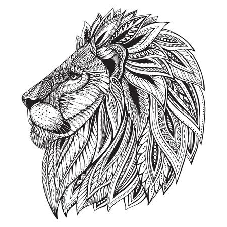 Étnica cabeza adornada con dibujos de León. Ejemplo blanco y negro del doodle. Boceto para el tatuaje de impresión de carteles o una camiseta.