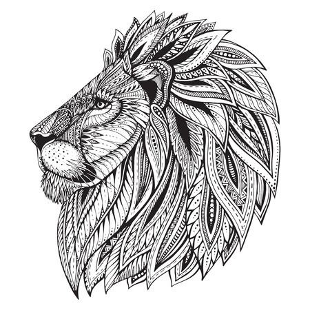 Ethnic patterned ornate  head of Lion. Black and white doodle illustration. Sketch for tattoo, poster, print or t-shirt. Ilustração