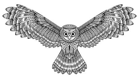 owl illustration: hand drawn flying owl. Black and white art.