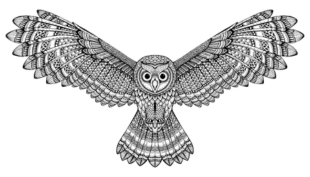 hand drawn flying owl. Black and white art.