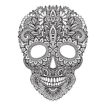 手は、華やかなスタイルで人間の頭蓋骨の図を描画します。タトゥーの黒と白の花柄スカル プリント、t シャツ
