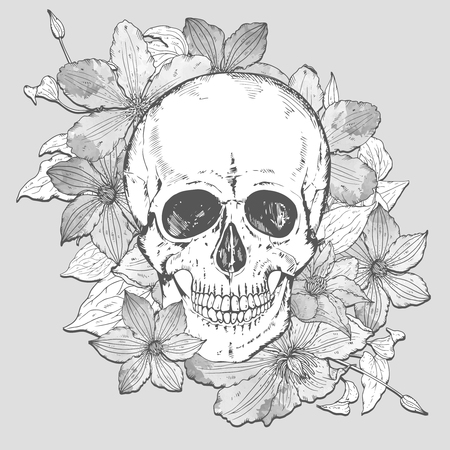 flower head: Monochrome illustration with hand drawn human skull, clematis flowers in vintage sketch style