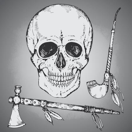 calumet: Set of hand drawn human skull, tomahawk and calumet in sketch style.