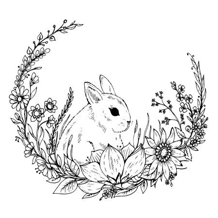 dibujados mano linda del conejo con corona de flores y hojas. Ejemplo blanco y negro de pequeño conejito. Tarjeta de felicitación para Pascua o el cumpleaños