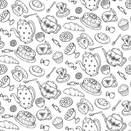 Tea time seamless pattern with hand drawn doodle elements in graphic style. Breakfast seamless Sweet pattern with tea pots, pancakes, cake, sugar, candies, croissants, and other. Иллюстрация
