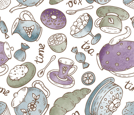 teatime: Tea time seamless pattern with hand drawn doodle elements in graphic style and watercolor texture. Breakfast seamless Sweet pattern with tea pots, pancakes, cake, sugar, candies, croissants, and other.