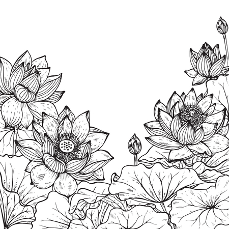 Beautiful monochrome vector floral frame with lotus flowers and leaves in graphic style. Vettoriali