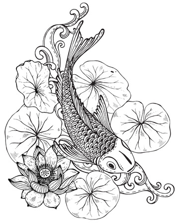 Hand drawn vector illustration of Koi fish (Japanese carp) with lotus leaves and flower. Symbol of love, friendship and prosperity. Black and white image. Can be used for tattoo, print, t-shirt, coloring books. Illustration