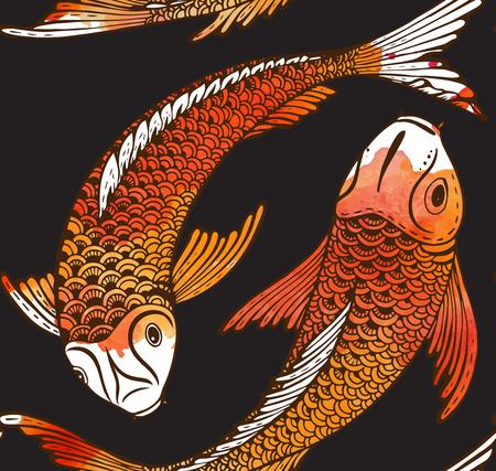手でシームレスなベクトル パターンには、鯉魚 (鯉) と水彩テクスチャが描画されます。愛、友情および繁栄のシンボルです。美しい無限の背景 写真素材 - 53405805