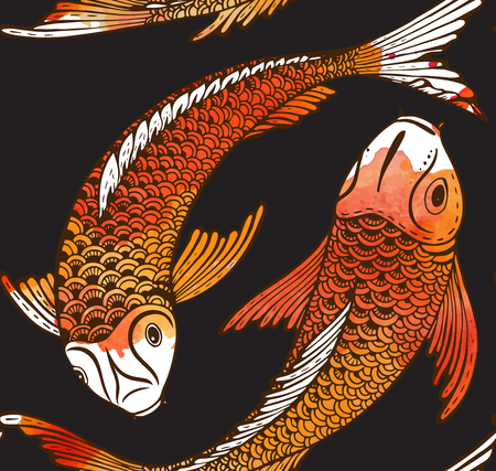 Seamless vector pattern with hand drawn Koi fish (Japanese carp) and watercolor texture. Symbol of love, friendship and prosperity. Beautiful endless background Illustration