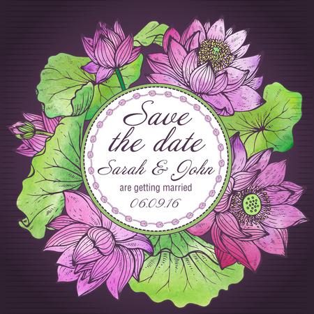 Bella elegante invito a nozze o carta Save the Date con grafica fiori di loto e foglie. Illustrazione vettoriale con texture ad acquerello.