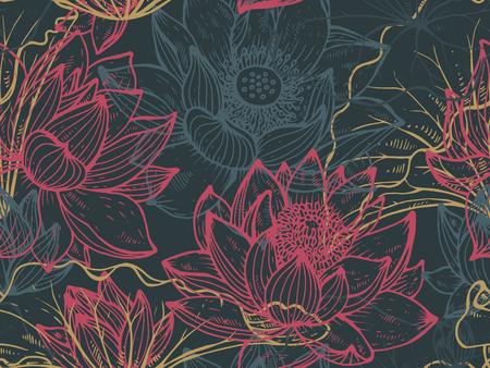 手描きの蓮の花のシームレスなパターンは、花し、布、織物、紙の葉します。花の美しいベクトルの背景。