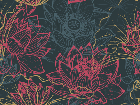 Patrón floral transparente con flores de loto dibujado a mano y hojas para telas, textiles, papel. Hermoso vector de fondo floral.