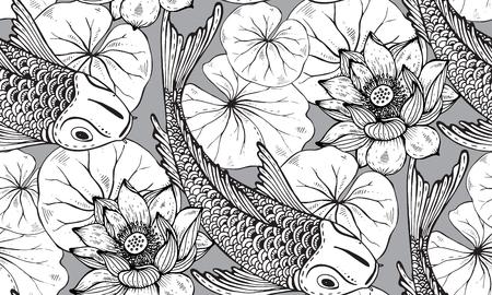 Modello di vettore senza soluzione di continuità con disegnata a mano pesce Koi (carpa giapponese), foglie di loto e fiori. Simbolo di amore, amicizia e prosperità. Sfondo infinito bianco e nero Vettoriali