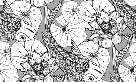 koi: Seamless vector pattern with hand drawn Koi fish (Japanese carp), lotus leaves and flower. Symbol of love, friendship and prosperity. Black and white endless background