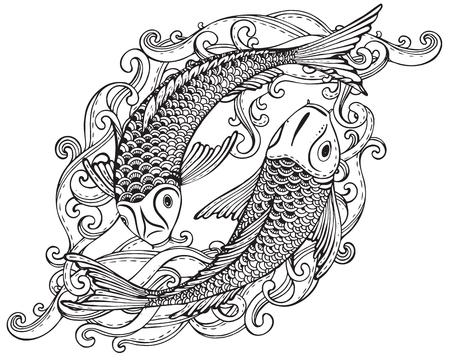 파도와 두 잉어 물고기 (일본어 잉어)의 손으로 그린 벡터 일러스트 레이 션입니다. 사랑, 우정과 번영의 상징. 흑백 이미지. 문신, 인쇄, 티셔츠,