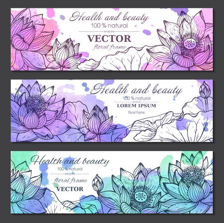 Set van drie horizontale banners met mooie lotusbloemen en bladeren in grafische stijl en waterverf textuur. Vector bloemen headers