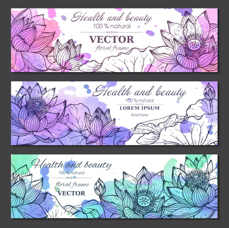 Set of three horizontal banners with beautiful lotus flowers and leaves in graphic styleand watercolor texture. Vector floral headers Illustration