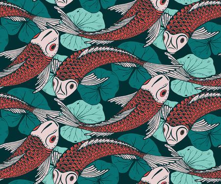手描き鯉魚 (鯉)、蓮の葉でシームレスなベクトル パターン。愛、友情および繁栄のシンボルです。カラフルな無限の背景