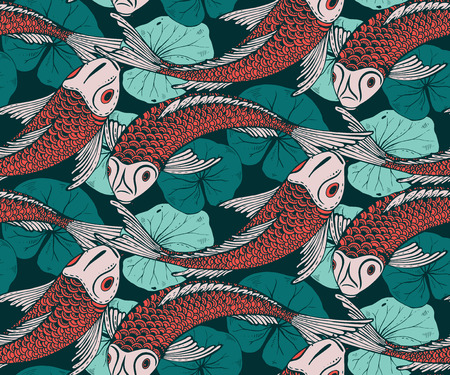 japanese koi: Seamless vector pattern with hand drawn Koi fish (Japanese carp), lotus leaves. Symbol of love, friendship and prosperity. Colorful endless background Illustration