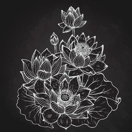 Belle vecteur monochrome bouquet floral de fleurs de lotus et de feuilles de style graphique.