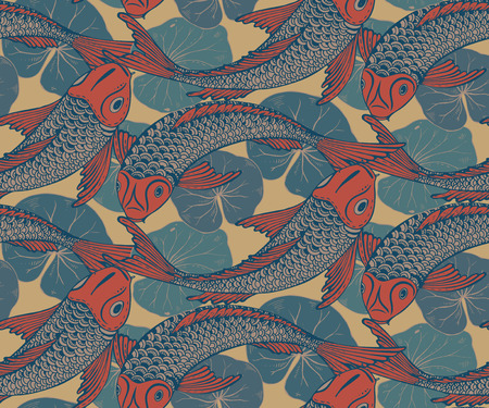 Seamless vector pattern with hand drawn Koi fish (Japanese carp), lotus leaves. Symbol of love, friendship and prosperity. Colorful endless background Stock Illustratie