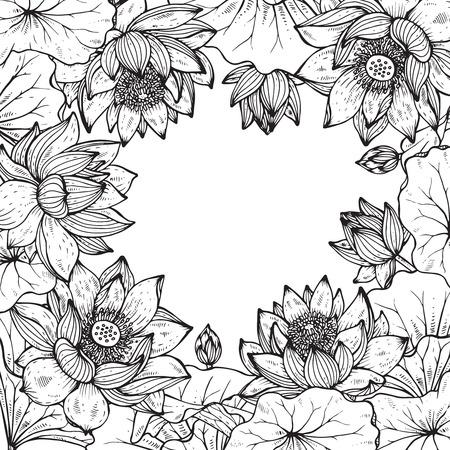 蓮の花のフレームを美しいモノクロ ベクトルは花し、グラフィック スタイルの葉します。  イラスト・ベクター素材