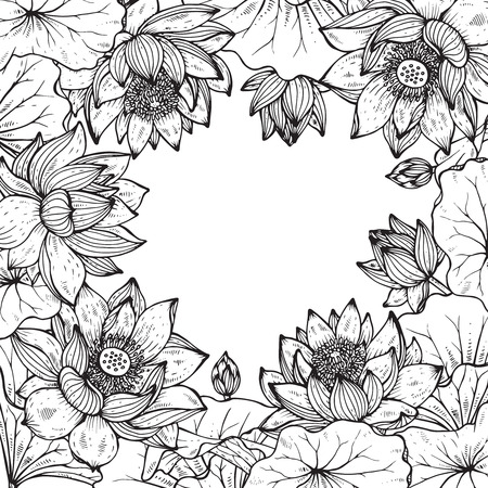 Beautiful monochrome vector floral frame with lotus flowers and leaves in graphic style. 矢量图像