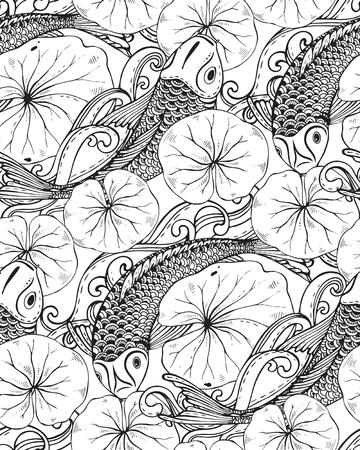 手描き鯉魚 (鯉)、蓮の葉でシームレスなベクトル パターン。愛、友情および繁栄のシンボルです。黒と白の無限の背景  イラスト・ベクター素材